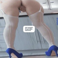Порно гифка мастурбация попка шпильки чулки голубой парик